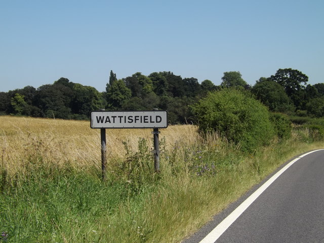 Wattisfield Village Name sign on the A143 Bury Road