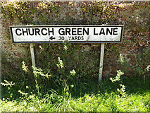 TM0174 : Church Green Lane sign by Adrian Cable