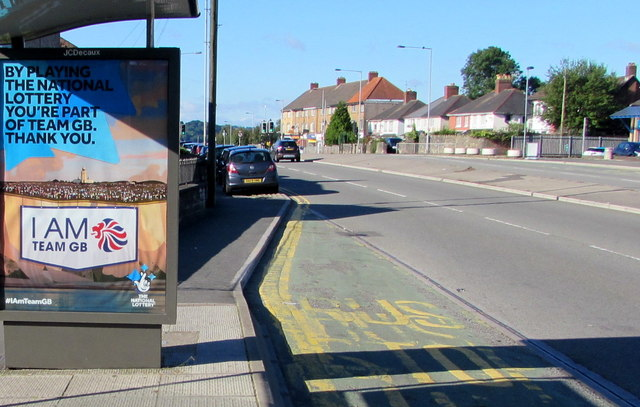 Olympic Games themed advert on a Malpas Road bus shelter, Newport