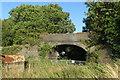 SP6626 : Bridge over the disused railway by Philip Jeffrey