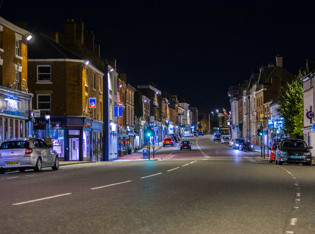 Ashby Market Street at night