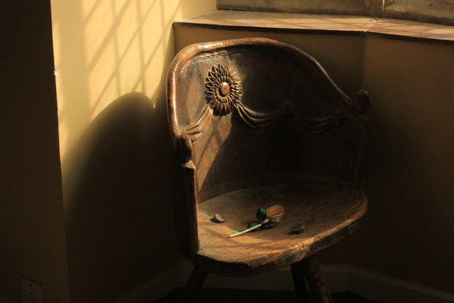 Ancient hand carved chair - Haddon Hall