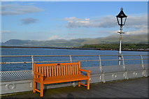 SH5873 : Bench and lampstand on Bangor Pier by David Martin