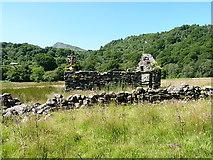 SH7357 : Abandoned field barn beside the Afon Llugwy by Richard Law