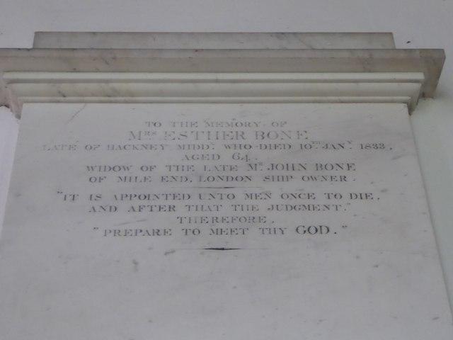 All Saints, Woodton: memorial (Q)