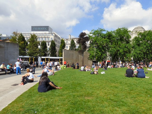 Sunny summer Saturday in Piccadilly Gardens