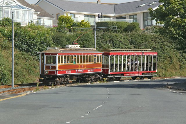 Manx Electric Railway 9 and 40 at Harbour Road, Onchan