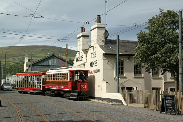 Manx Electric Railway tram passing The Mines at Laxey