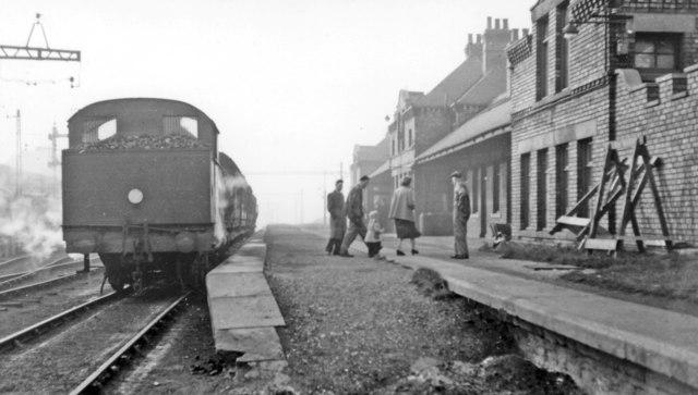 Westoe Lane station, South Shields, Marsden & Whitburn Colliery Railway on Last Day, 1953
