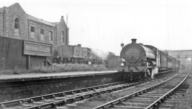 Whitburn Colliery station, with Last Day train from South Shields, 1953