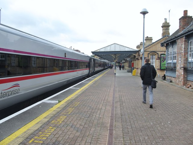 The Dublin-bound Enterprise standing at Platform 1, Dundalk Clarke Station