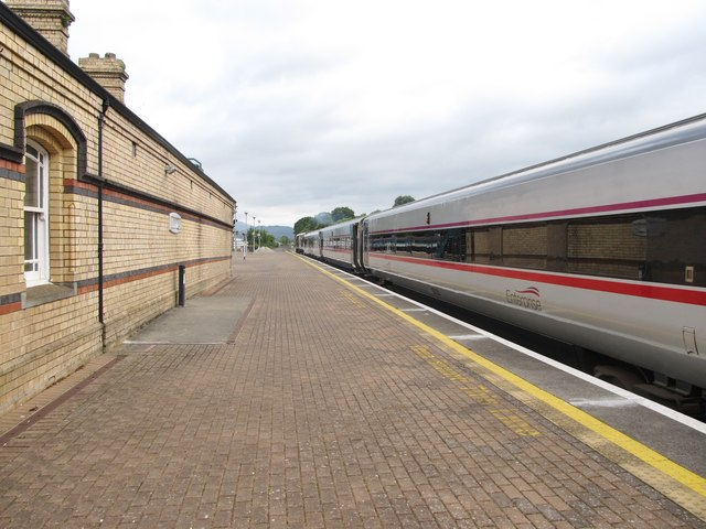 The rear carriages of the Enterprise train standing at Clarke Station, Dundalk