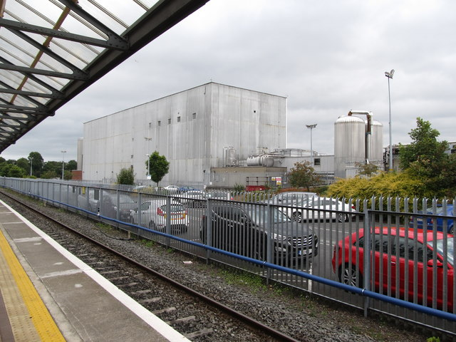 A section of the Great Northern Distillery plant from Platform 1 of Clarke Station