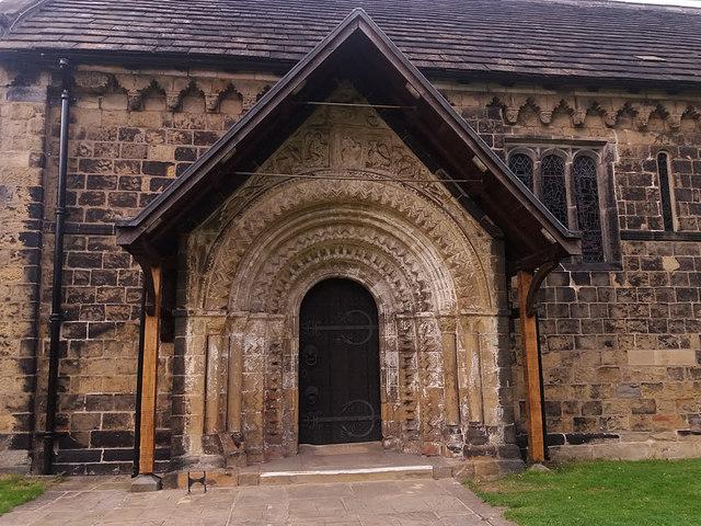 St John the Baptist, Adel - doorway