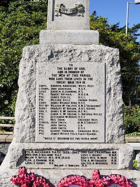 Portpatrick War Memorial, Dedication and List of Names