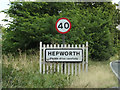 TL9874 : Hepworth Village Name sign on the A143 Bury Road by Adrian Cable