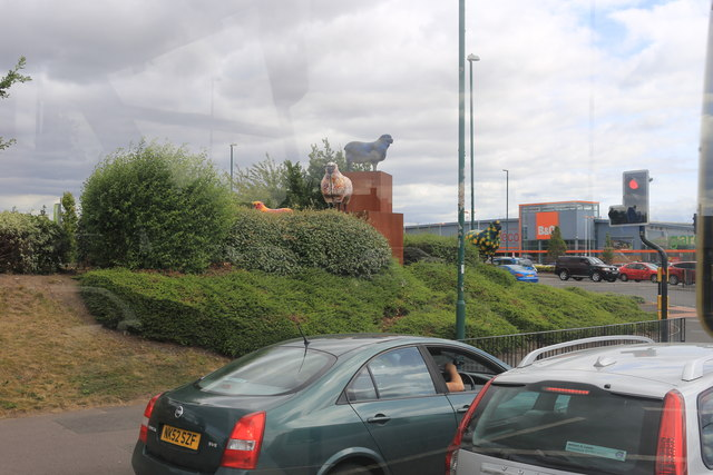 Tesco sheep at the road junction