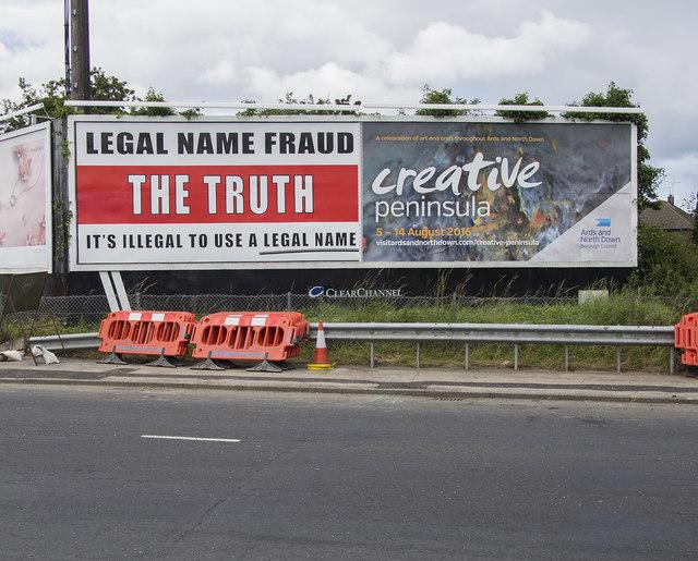 'Legal Name Fraud' advert, Bangor