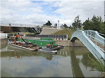 TQ3784 : Footbridge over City Mill River and River Lea by David Smith