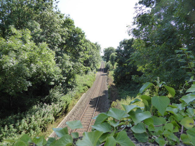 Bristol to Weymouth rail line, looking southward from Holywell