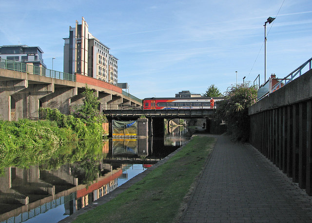 A Norwich-Liverpool train crossing the canal