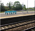 ST1067 : Turquoise benches on Barry railway station by Jaggery