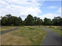 TQ4387 : Open space with footpaths, Valentines Park by David Smith