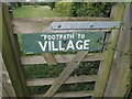 TM0173 : Sign on footpath gate off Honeypot Lane by Adrian Cable