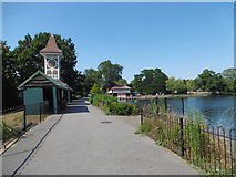 TQ4387 : The Lake and Clock Tower, Valentines Park by Marathon