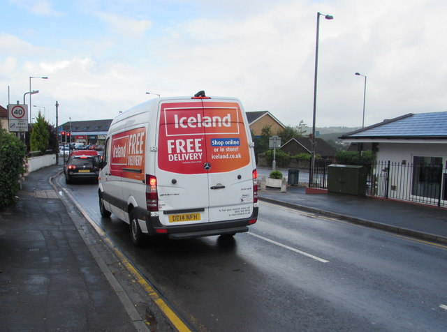 Iceland home delivery van in Pillmawr Road, Malpas, Newport