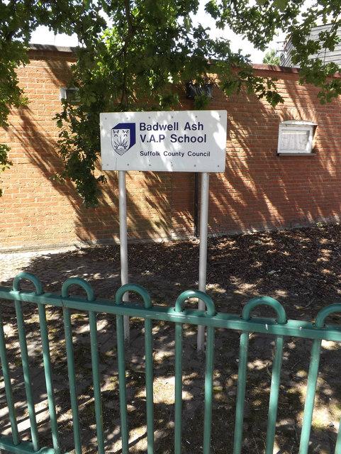 Badwell Ash V.A.P. School sign