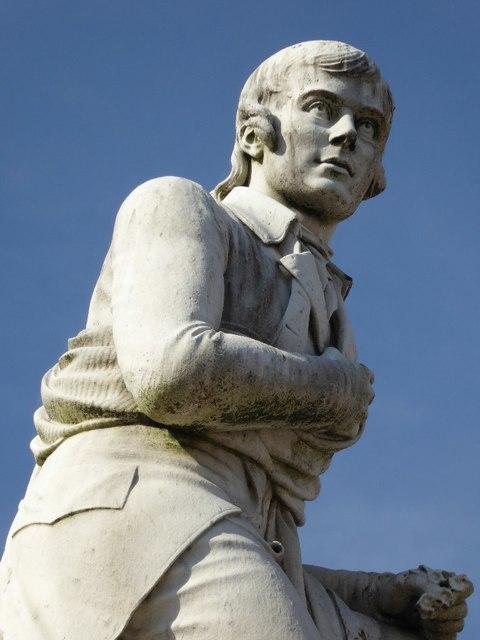 Close up of the statue of Robert Burns
