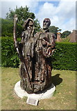 TR0653 : Oak carving by the entrance to Chilham Castle by pam fray