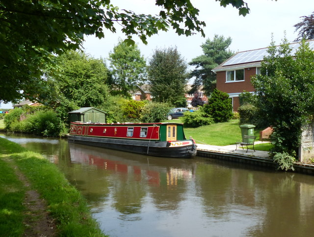 Narrowboat moored along the Staffordshire and Worcestershire Canal