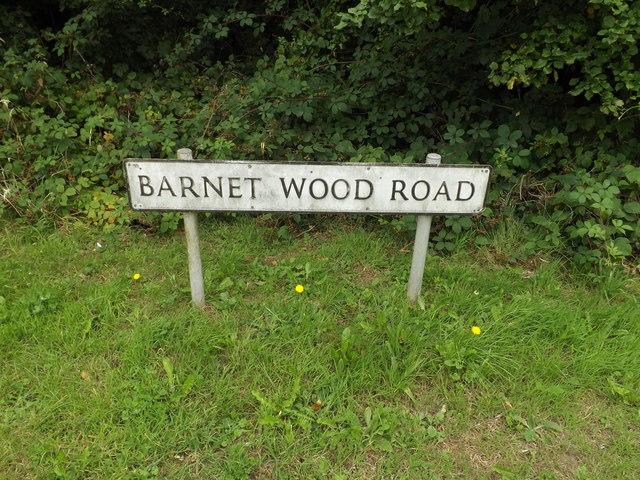 Barnet Wood Road sign