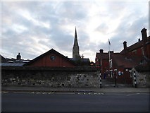 SU1429 : Salisbury Cathedral glimpsed from Exeter Street by Basher Eyre