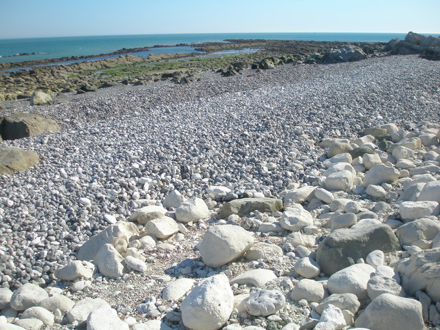 Grading of beach material at Cow Gap, East Sussex