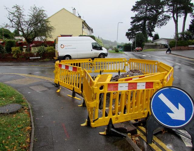 Yellow temporary barriers on a Malpas corner, Newport