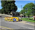 ST3090 : Yellow temporary barriers and green trees, Malpas, Newport by Jaggery