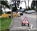 ST3090 : Warning sign - road narrows, Pillmawr Road, Malpas, Newport by Jaggery