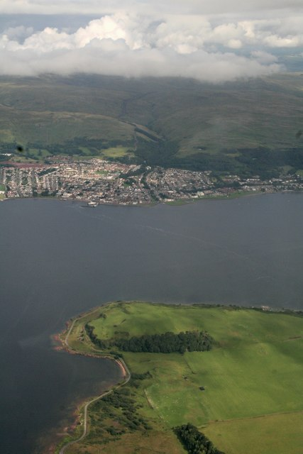 Largs across Great Cumbrae Island: aerial 2016 by Chris