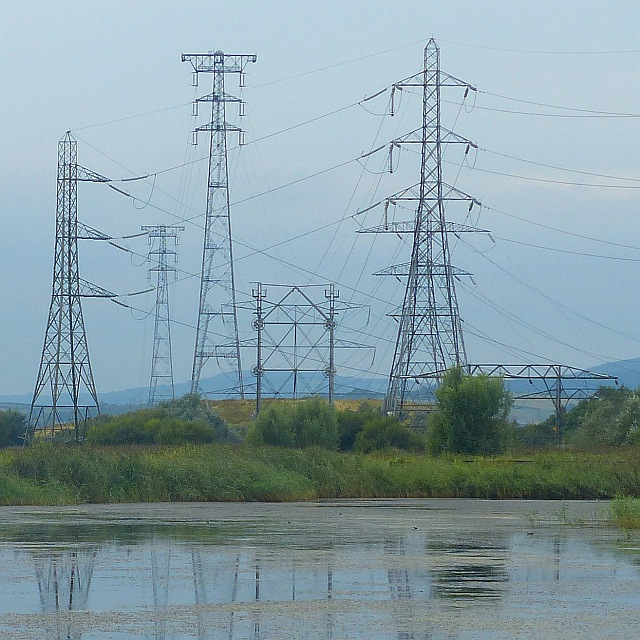 A variety of pylons, Uskmouth, Newport