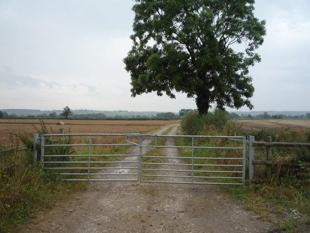 Gated farm track off Leathersley Lane