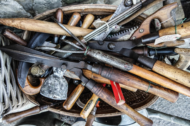 """Tools for sale, """"Old English Tools"""", Monks Granary, Standard Quay"""