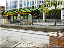 SJ8397 : St Peter's Square Tram Station Construction, Late August 2016 by David Dixon