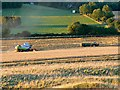 SU3087 : Harvesting a cereal crop, north of Dragon Hill, Oxfordshire by Brian Robert Marshall