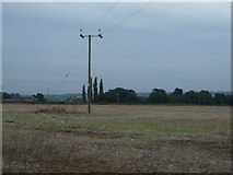 SK0233 : Stubble field and power line by JThomas