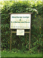 TM0370 : Westhorpe Lodge sign by Adrian Cable