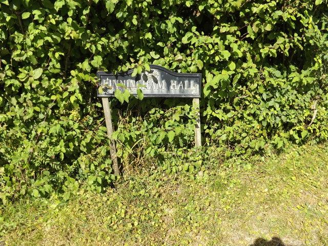 Finningham Hall sign