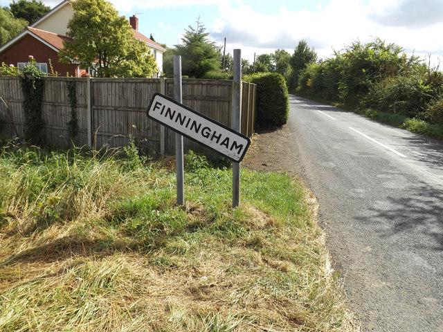 Finningham village name sign on the parish boundary